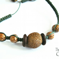 wood and clay macrame bracelet