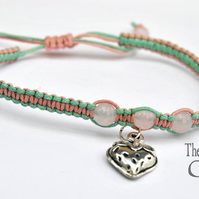 macrame rose quartz strawberry charm bracelet