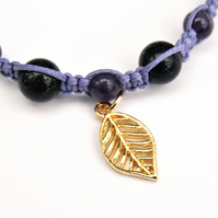 Amethyst and Blue Goldstone macrame leaf charm bracelet