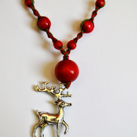 Christmas deer charm macrame necklace