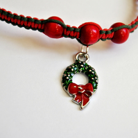 Christmas Wreath Red And Green Charm Bracelet