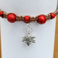 Macrame red wooden autumn maple leaf bracelet