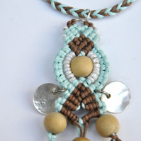 Macrame Blue Brown Goddess eye pendant