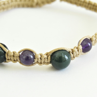 Macrame amethyst and moss agate bracelet