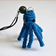 Macrame 3d octopus phone charm - Blue