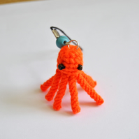 Macrame 3d octopus phone charm - orange