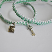 Macrame green & white bracelet pair -- lock and key