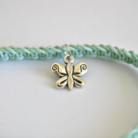 Simple blue stripe style butterfly bracelet