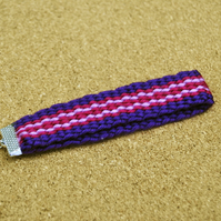 Handmade plain weave purple and red keychain zip tag