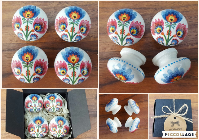 Set of Four Hand Decorated Pine Vintage Style Folk Flowers Drawer Knobs Pulls