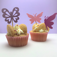 12 butterfly cupcake toppers, perfect for a butterfly birthday party