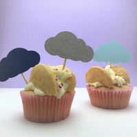 12 cloud cupcake toppers, perfect for a birthday party, cloud party supplies