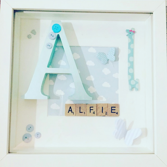 Handcrafed childrens scrabble Art I Frames I Home Decor I birthdays I babyshower