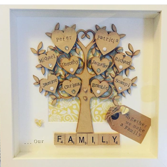 Our Family Tree scrabble Framed Gifts I Handcrafted & Personalised hearts I