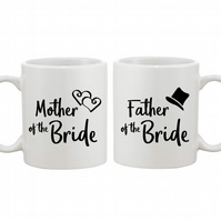 Mother and Father of the Bride - Personalised Wedding Gift Mug Set