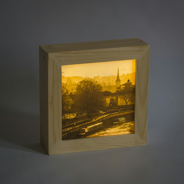 Foggy Day. Lighbox featuring the city of Bath in Somerset