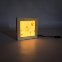'Up', Handmade Wooden Lightbox Featuring Hot Air Balloons