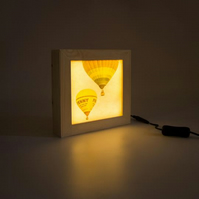 Wooden Lightbox.'Two Balloons', Hot Air Balloons. Lightbox Handmade in Bristol