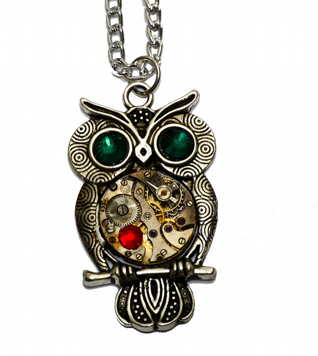 Tibetan Silver Steampunk Owl Necklace. Hand Made in Cornwall, UK