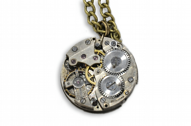 Steampunk Watch Movement Necklace  Pendant (Hand Made in Cornwall)