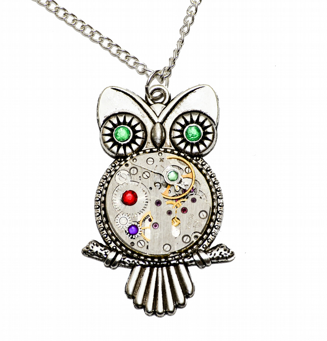 Tibetan Silver Steampunk Owl Pendant Necklace. Hand Made in Cornwall, UK