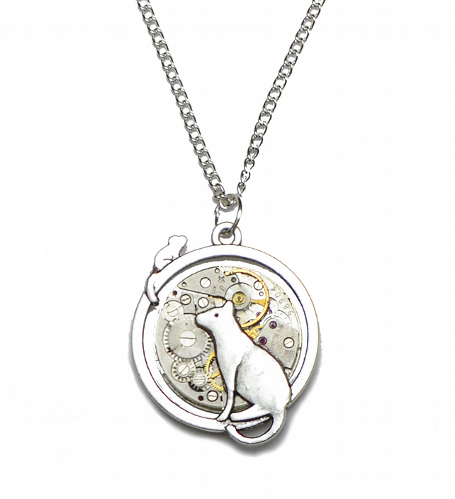 Cat and Mouse Steampunk Watch Movement Pendant Necklace on Silver Plated Chain.