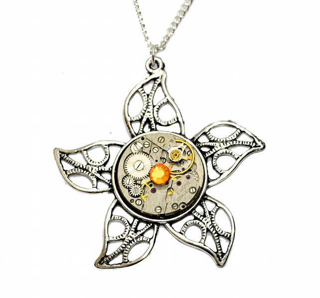 Tibetan Silver Steampunk Flower Watch Movement Necklace. Hand Made in Cornwall,