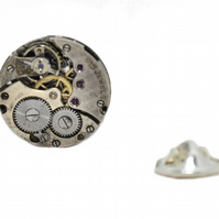 Steampunk Watch movement Pin Badge Brooch (Hand Made in Cornwall)
