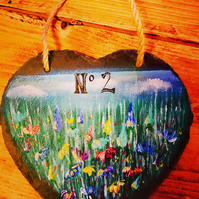 Personalised Painted slate hanging heart