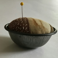 Vintage Pie Tin Pin Cushion : Rust dyed, hand dyed & Stitch embellished ( 7 )