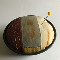 Vintage Pie Tin Pin Cushion : Rust dyed, hand dyed & Stitch embellished ( 3 )
