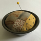 Vintage Pie Tin Pin Cushion : Rust dyed, hand dyed & Stitch embellished ( 4 )