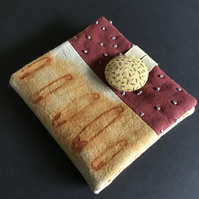 Needle Case ; Rust, Hand Dyed & stitch embellished ( D )