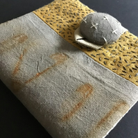 Needle Case ; Rust, Hand Dyed & stitch embellished ( C )