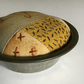 Vintage Pie Tin Pin Cushion : Rust dyed, hand dyed & Stitch embellished ( 1 )