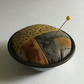 Vintage Pie Tin Pin Cushion : Rust dyed, hand dyed & Stitch embellished ( 2 )
