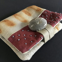 Needle Case ; Rust, Hand Dyed & stitch embellished ( H )