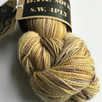 Eco Printed & Hand Painted Yarn ; B.F.L. Sock , S.W 4 ply 110g  ( col: 004)