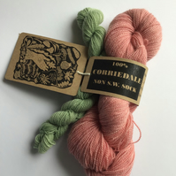 Naturally Hand dyed Corriedale High twist Sock set 120g (004)