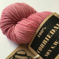 Naturally dyed ,Corriedale High Twist Sock Yarn Col: Dusky Rose Pink