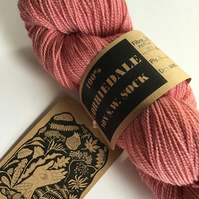 Naturally dyed ,Corriedale High Twist Sock Yarn Col: Vintage  Pink