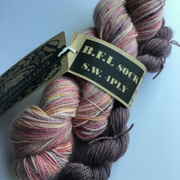 Eco Printed & Dyed ; B.F.L. & Mini Sock Set  S.W 4 ply 110g  & 20 g