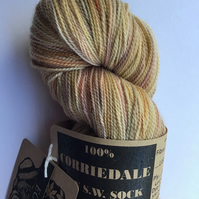 Eco Printed & Hand Painted Yarn ; Corriedale High twist Sock Yarn 100g  col 009