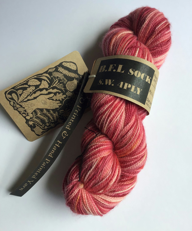 Eco Printed & Hand Painted Yarn ; B.F.L. Sock , S.W 4 ply 110g  ( col: 005)