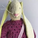 A Linen Hare Textile sculpture and decoration ( Aubergine)
