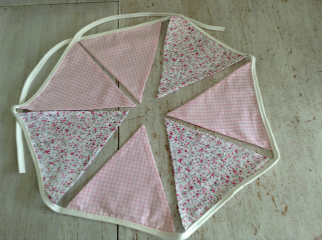Pink Gingham and Ditsy Rose Fabric Bunting Flags - Double Sided