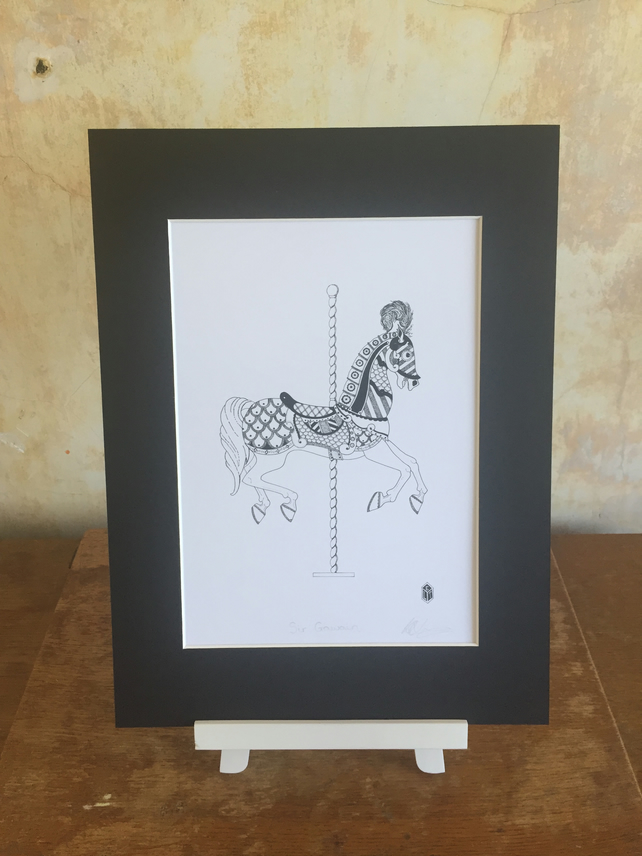 Sir Gawain Carousel Horse Black and White Fine Art Print (190mm x 272mm)