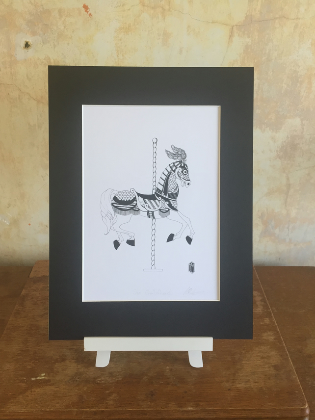 Sir Galahad Carousel Horse Black and white Fine Art Print (190mm x 272mm)