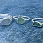 Sea Glass & Sterling Silver Ring Stack