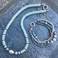 Amazonite, Pearl and Sterling Silver Necklace